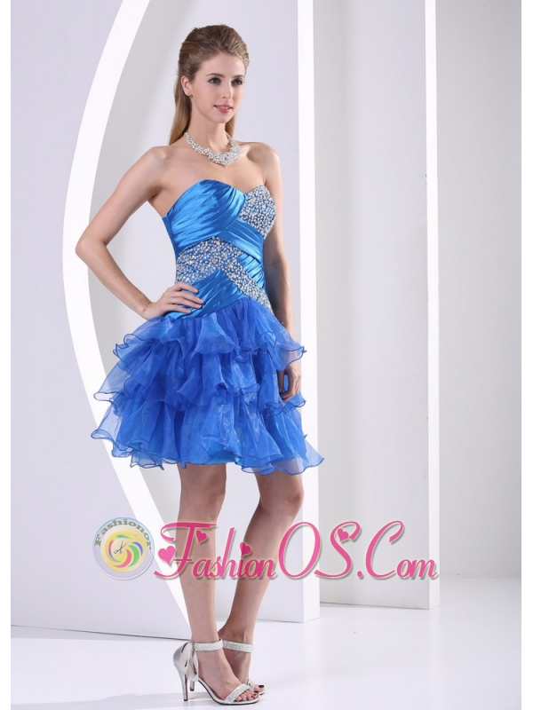 Peacock Blue Ruched Layered Sweetheart Cocktail Dress With Beading Decrate Bust in Washington