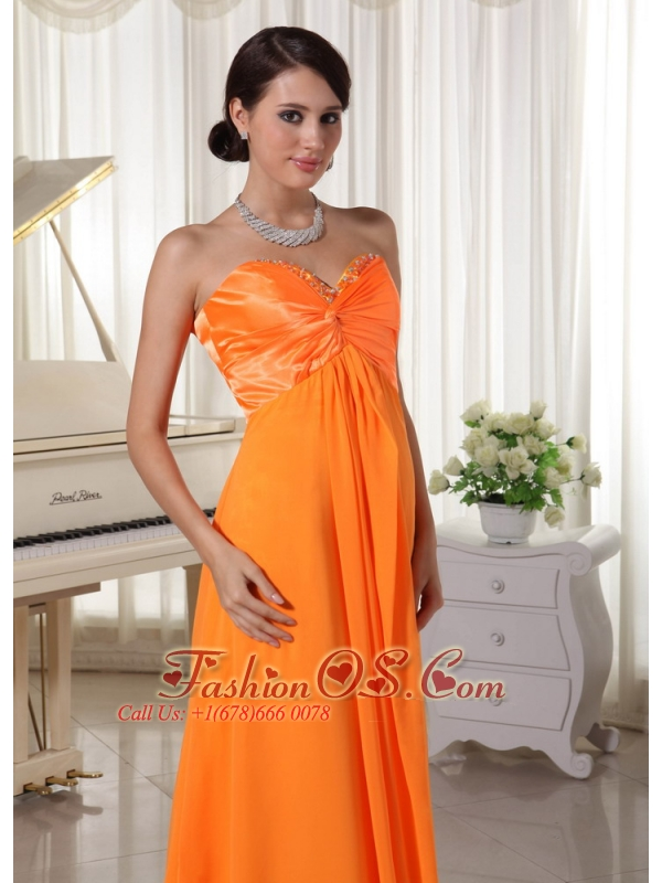Pretty Orange Sweetheart Beaded Prom / Evening Dress Satin and Chiffon
