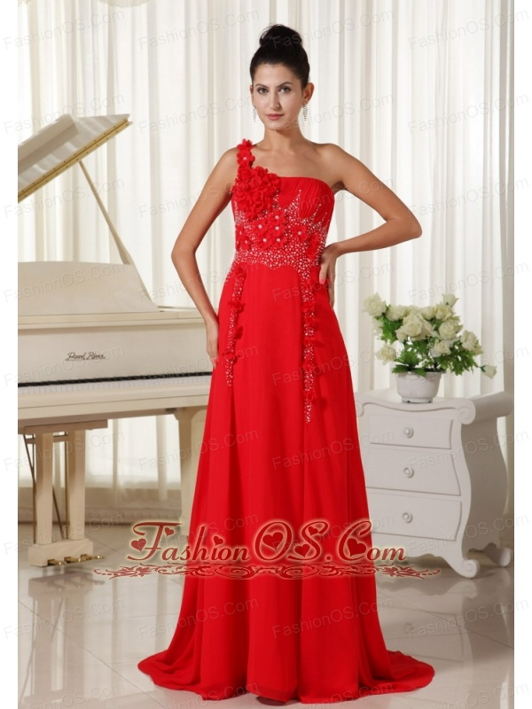 Red Evening Dress One Shoulder With Hand Made Flowers Beaded and ...