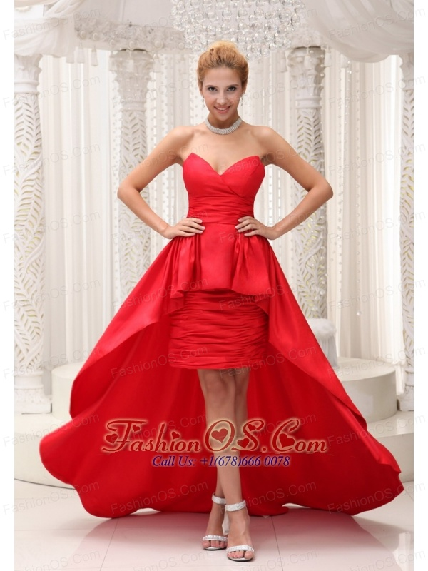 High Low Prom Evening Dress For Formal Evening Taffeta And Chiffon