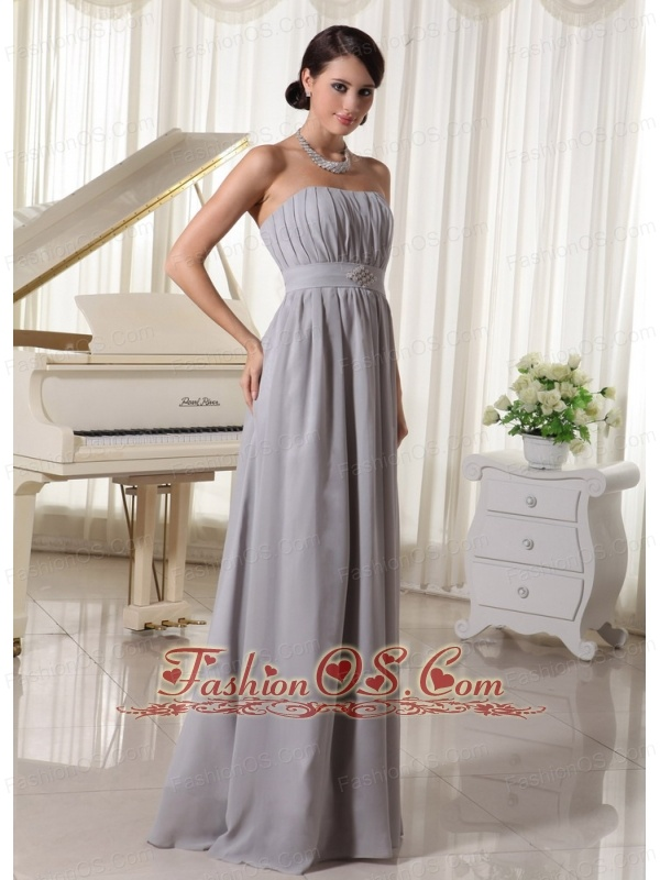 Simple Grey Empire Modest Dress With Ruch and Beading Chiffon