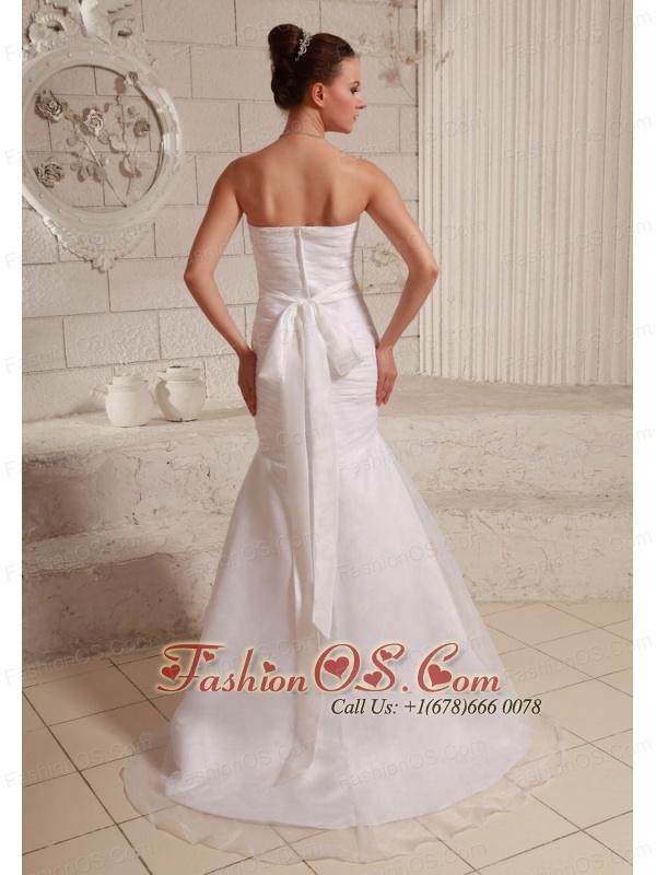 Simple Organza and Taffeta Low Cost Wedding Dress Mermaid Brush Train