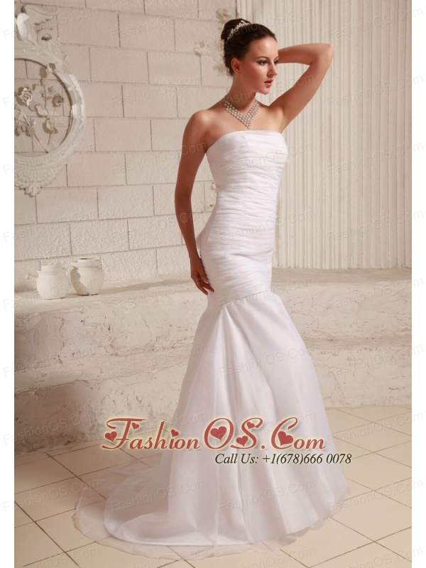 Simple Organza and Taffeta Low Cost Wedding Dress Mermaid Brush Train