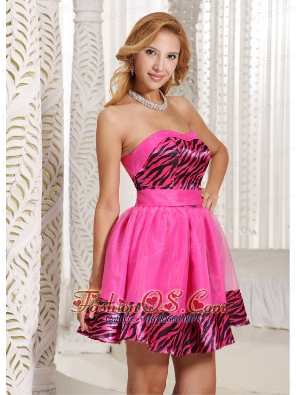 Stylish Zebra A-line Mini-length 2013 Prom Dress With Hot Pink Organza