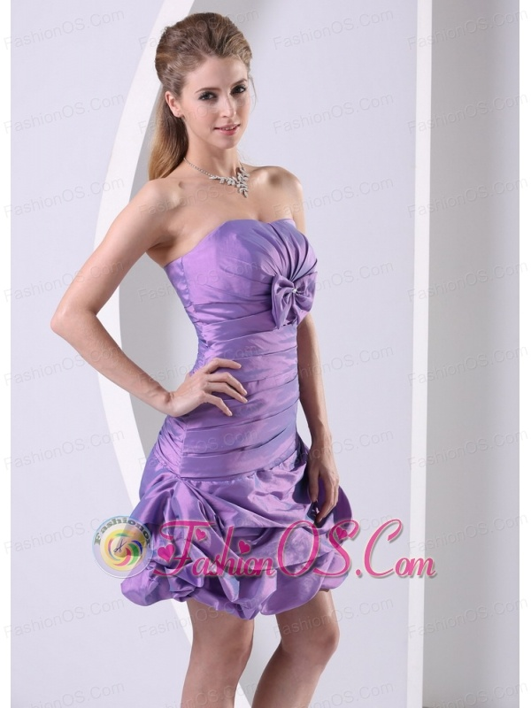 Taffeta Lavender Ruched and Bowkont Knee-length 2013 Club Cocktail Dress For Custom Made