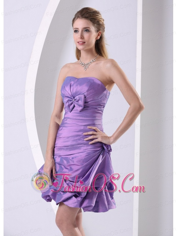 Taffeta Lavender Ruched and Bowkont Knee-length 2013 Club Cocktail ...