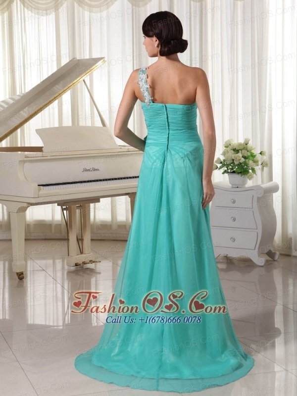 Turquoise Appliques Decorate One Shoulder and Bust Sexy Prom Dress With High Slit Chiffon and Elastic Woven Satin Brush Train