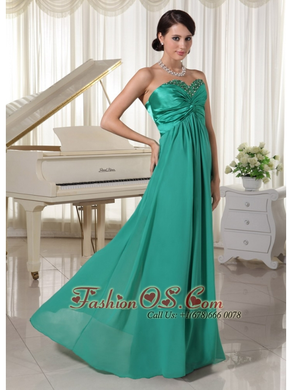 Turquoise Sweetheart Beaded Prom / Evening Dress For Prom Party Satin and Chiffon