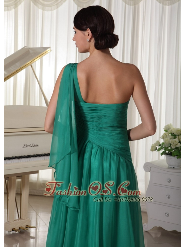 Turquoise One Shoulder Appliques and Ruch Decorate Bust Chiffon Prom Dress For Formal Evening