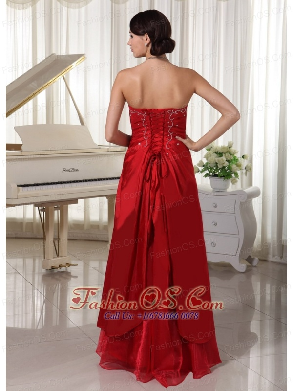 Wine Red A-line Prom / Evening Dress With Embroidery Floor-length Taffeta and Organza