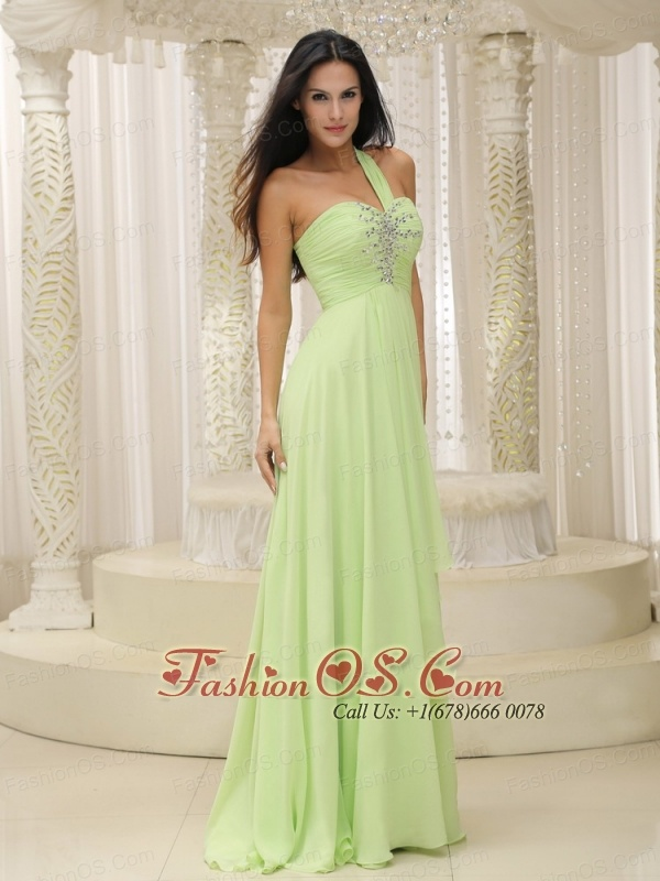 Yellow Green One Shoulder and Ruched Bodice Beaded Decorate Bust For 2013 Prom Dress