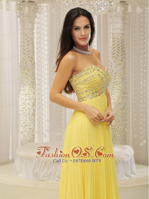 Yellow Sweetheart and Beaded Decorate Bust Pleat For 2013 Prom Dress