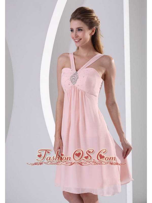Baby Pink Straps V-neck Empire Knee-length Short Bridesmaid Dress With Beading Chiffon