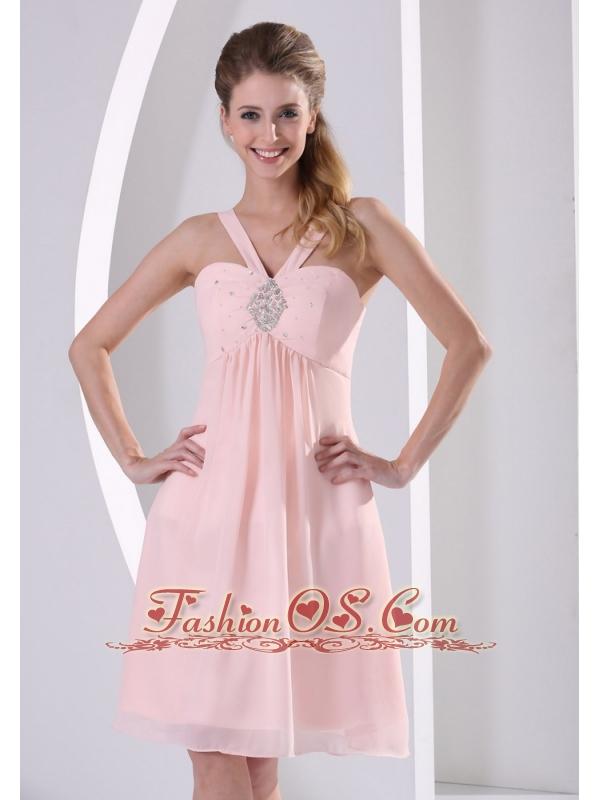 0d632663b51a ... Baby Pink Straps V-neck Empire Knee-length Short Bridesmaid Dress With  Beading Chiffon ...