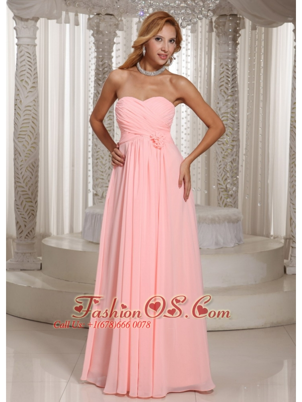 Baby Pink Stylish Bridesmaid Dress Ruched Bodice Chiffon For Wedding Party