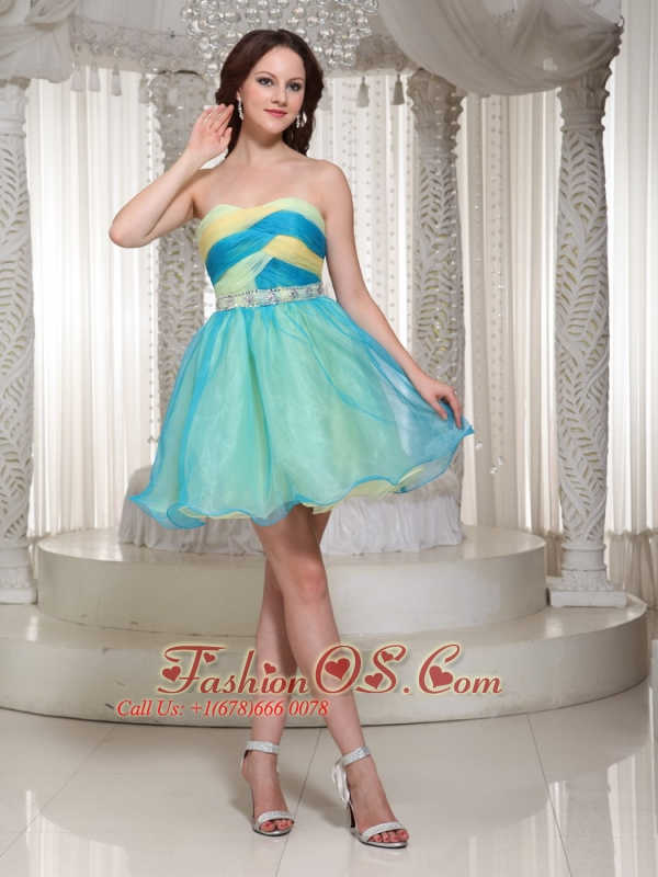 Beaded Decotate Mini-length Organza Homecoming Dress For Cocktail Party