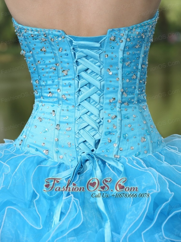 Beaded Ruffles Layered Decorate Famous Designer Quinceanera Dress With Sweetheart Aqua Skirt