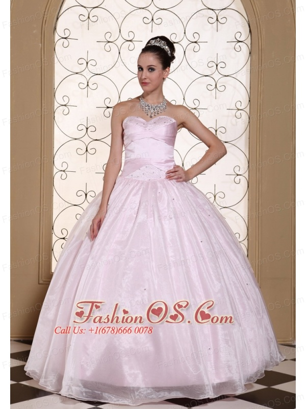 Beautiful Baby Pink 2013 Quinceanera Dress In California Sweetheart Beaded Decorate Bust