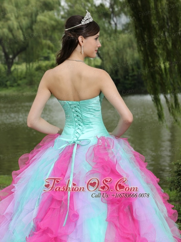 Colorful Sweetheart Quincenaera Dress For Graduation With Beaded Drcorate Ruffle Layers