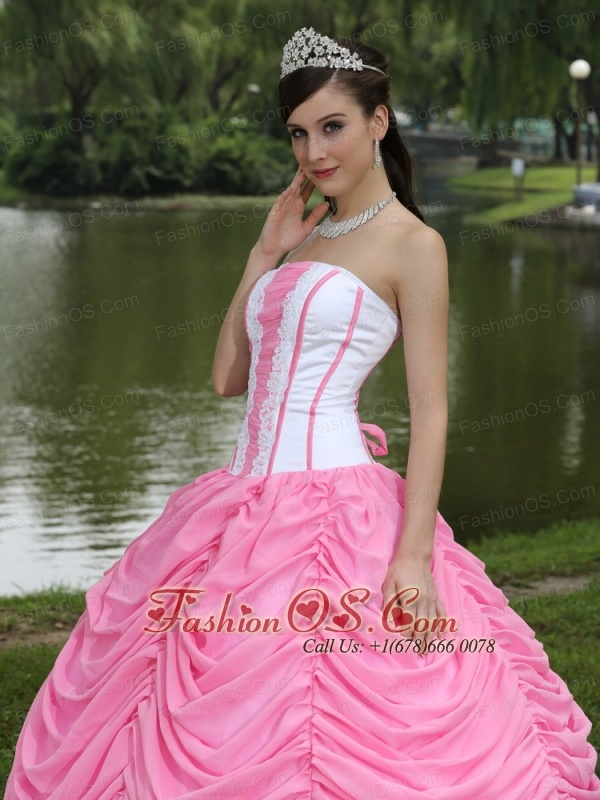 Custom Made Quinceanera Dress With Strapless Ball Gown Rose Pink and Pick-ups