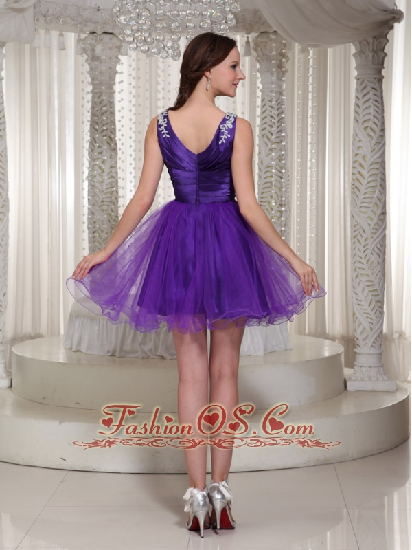 Custom Made V-neck Purple Organza Homecoming Dress With Beaded Bodice