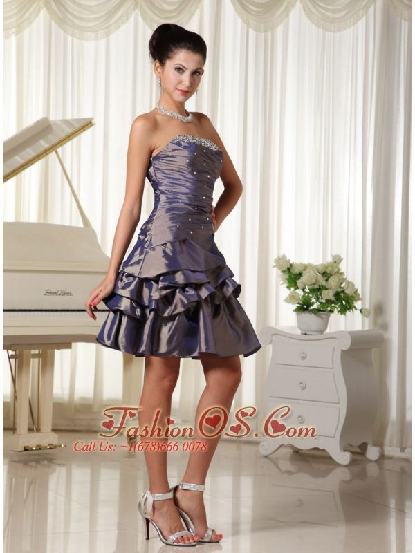Dark Purple Strapless With Bust Beading Modest Short Homecoming Dress In Florida