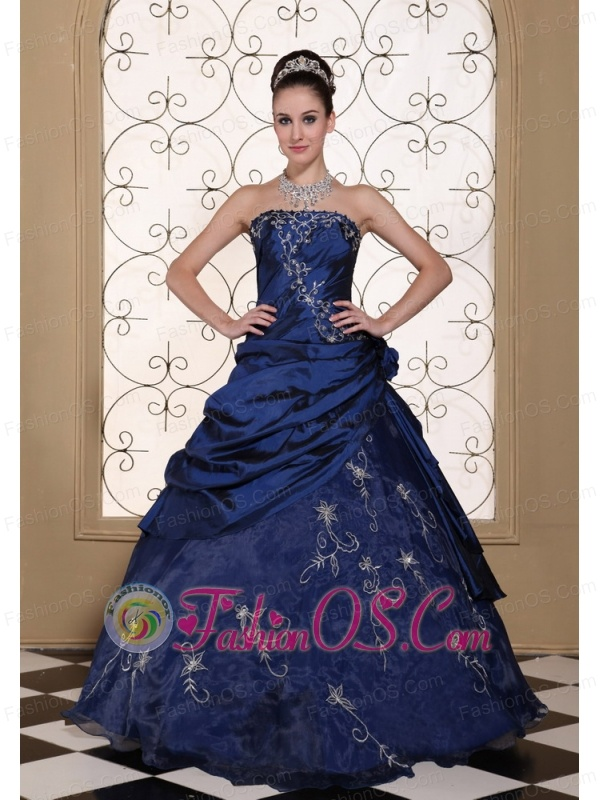 Exclusive Quinceanera Dress With Embroidery For 2013 Strapless Navy Blue Gown