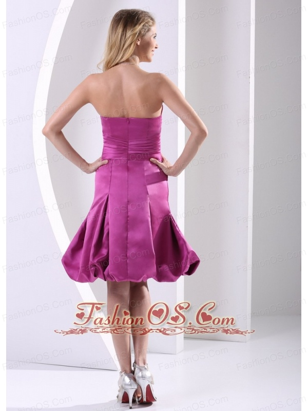 Fuchsia A-line Strapless Bridesmaid Dress With Satin Ruch and Hand Made Flowers