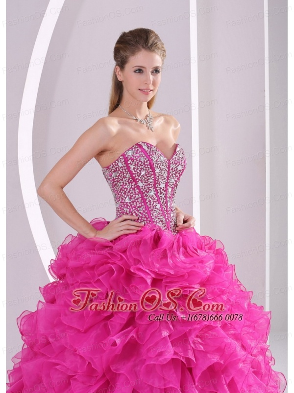 Fuchsia Ruffles Ball Gown Sweetheart Beaded Decorate Quinceanera Gowns in Sweet 16
