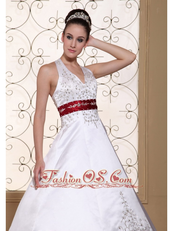 Halter Modest Wedding Dress in United States Online Beautiful Embroidery On Satin