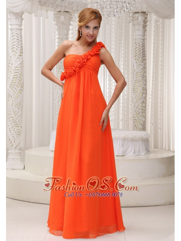 Hand Made Flowers Decorate One Shoulder Orange Chiffon Empire Floor-length For Bridesamid Dress