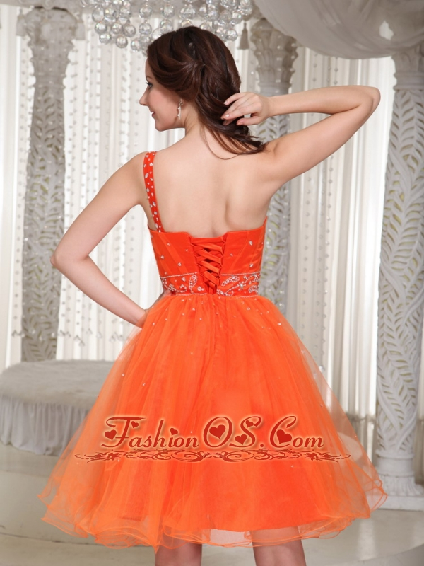 Lace-up Organza Orange Prom Dress With One Shoulder Beaded Decorate In Summer
