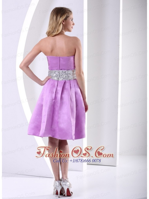 Lavender A-line Knee-length Bridesmaid Dress With Sequins Decorated Sash