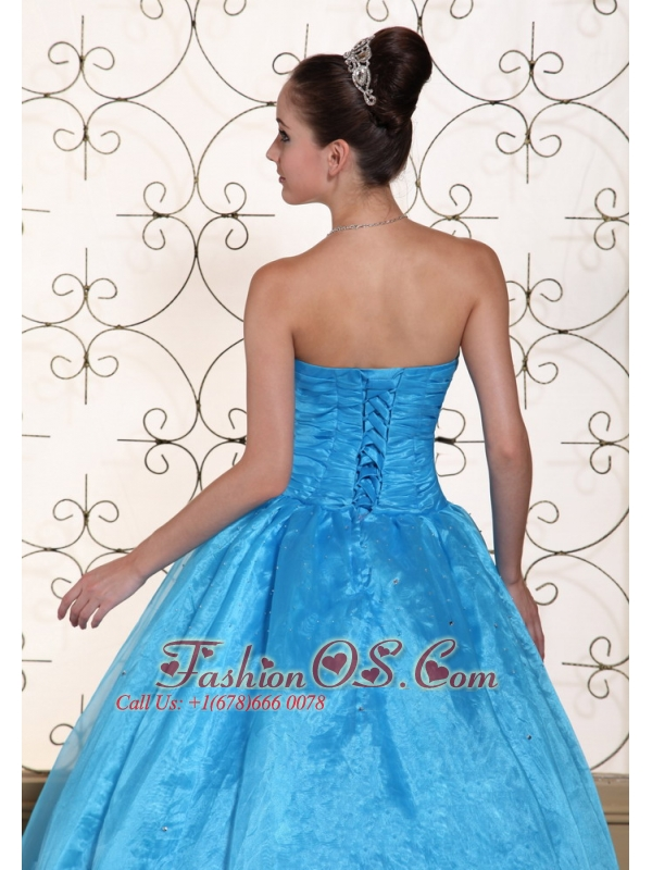 Lovely Strapless Quinceanera Dress With Beaded Decorate Bust Taffeta and Organza Floor-length Gown