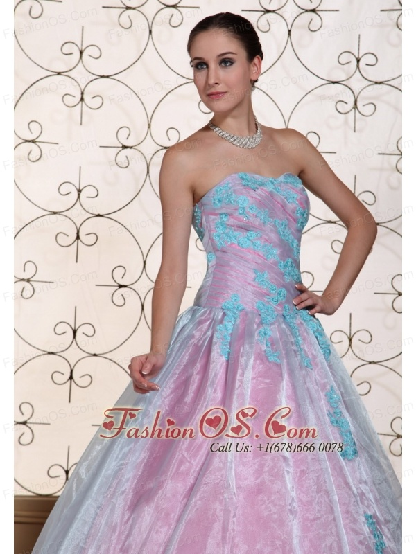 Multi-color Appliques On Organza Strapless Lovely Quinceanera Dress For 2013