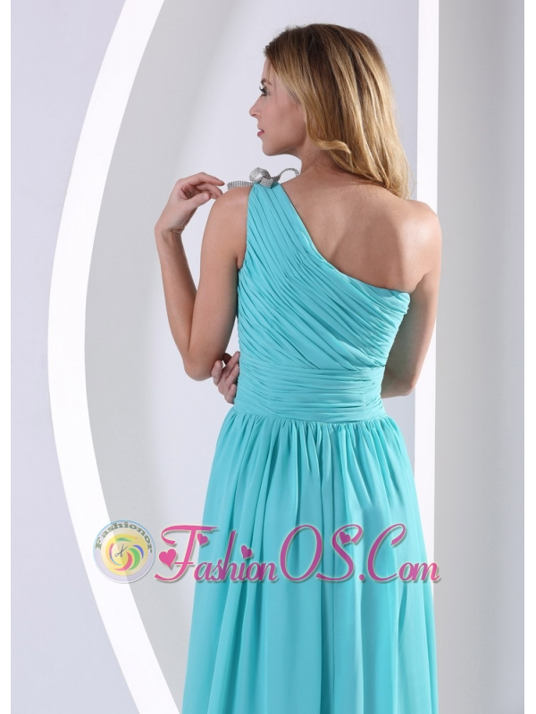 One Shoulder Ruched Bodice Aqua Blue Bridesmaid Dress For Wedding Party