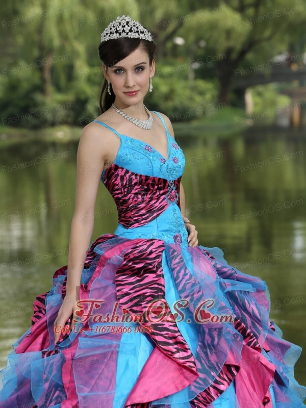 Organza Straps Beading For 2013 Colorful Quinceanera Dress In North Carolina