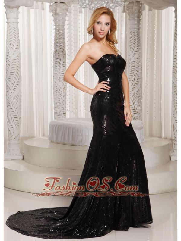 Paillette Over Skirt Sheath Sweetheart Court Train Evening Dress Black For Spring