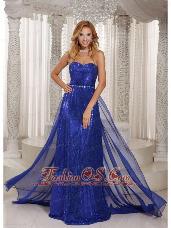 Royal Blue Paillette Over Skirt Sheath Sweetheart Stylish Evening ...