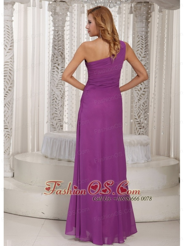 Sexy High Slit One Shoulder Long Bridesmaid Dress With Fuchsia Chiffon