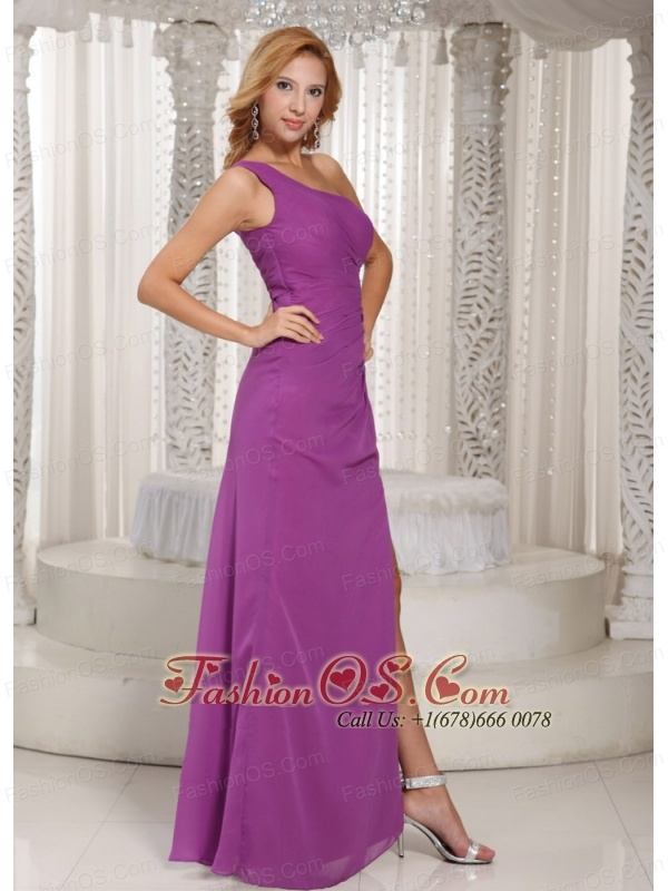 Sexy High Slit One Shoulder Long Bridesmaid Dress With Fuchsia ...