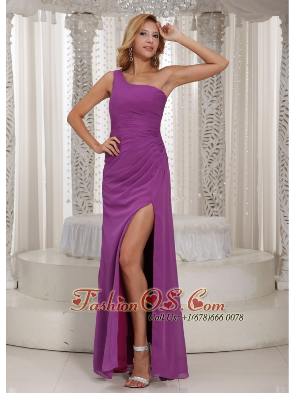 High Slit One Shoulder Long Bridesmaid Dress With Fuchsia Chiffon