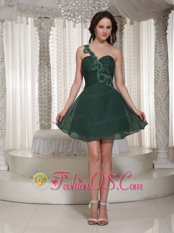 fb01348a4cd62f Short Peacock Green Prom   Cocktail Dress With Ruch Bodice One Shoulder  Sweetheart ...