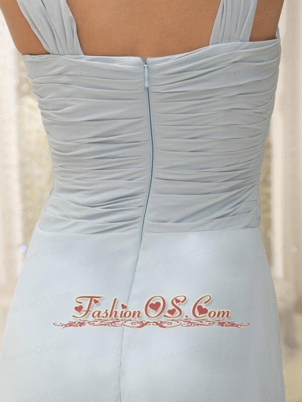 Straps Ruched Bodice and Hand Made Flowers Baby Blue Bridesmaid Dress In New York