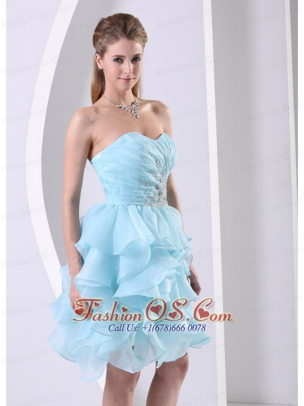 Stylish Aqua Blue Ruffles Sweetheart Ruched Bodice and Beading Prom Cocktail Dress In 2013