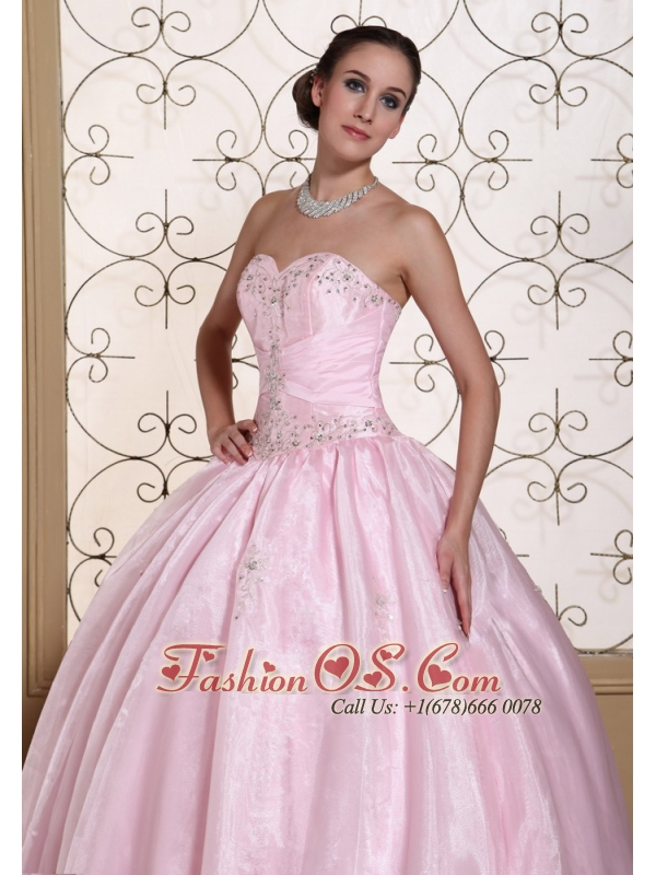 Sweet Baby Pink 2013 Quinceanera Dress In California Sweetheart Beaded Decorate Bust
