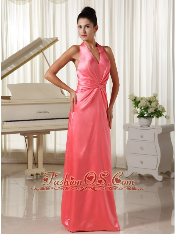 Watermelon With Halter Top Bridesmaid Dress Ruched Decorate Waist Elastic Woven Satin