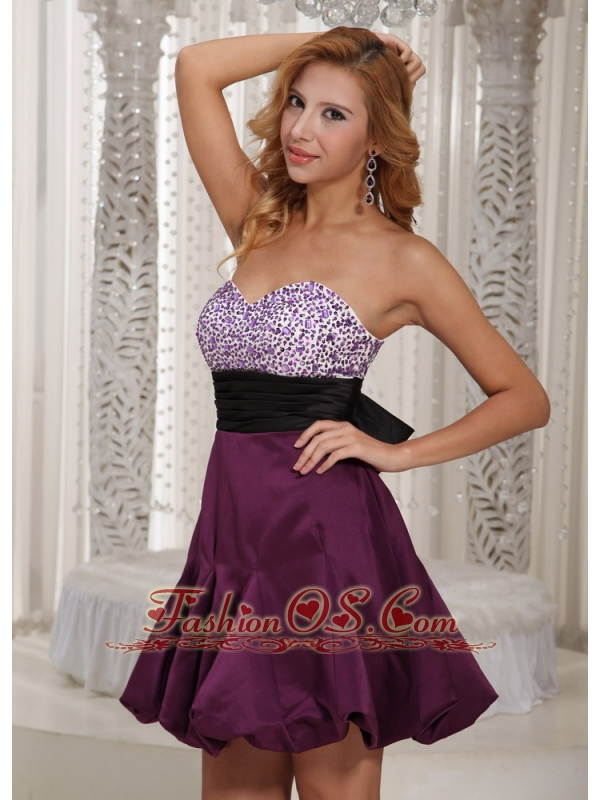 Wholesale Dark Purple Sweetheart Beading Bridesmaid Dress With Belt