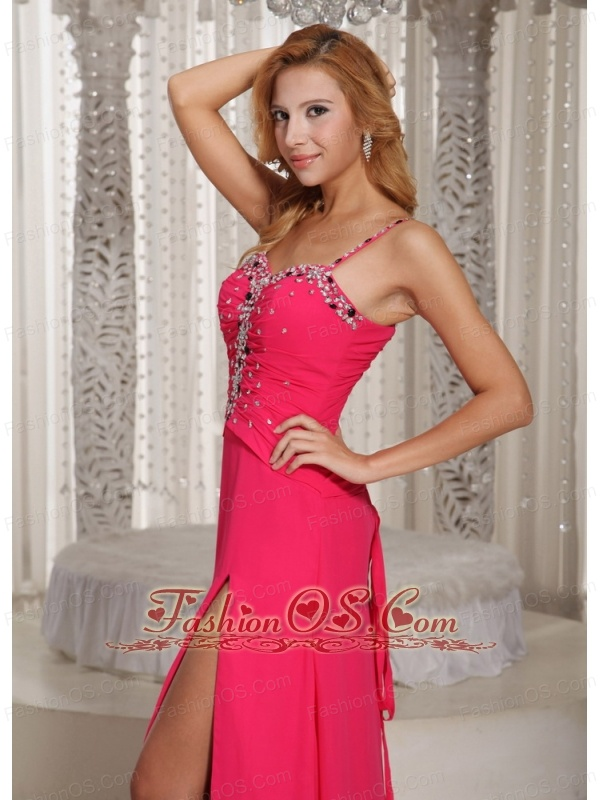 Wholesale High Slit Beaded Spaghetti Straps Coral Red 2013 Evening Dress Chiffon