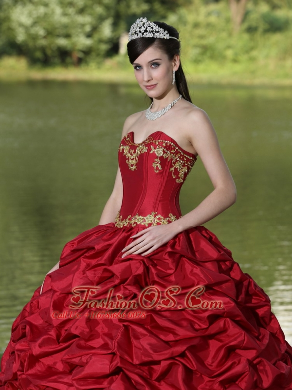 Appliques and Pick-ups Wine Red Brush Train Exquisite Style For 2013 Quinceanera Dress